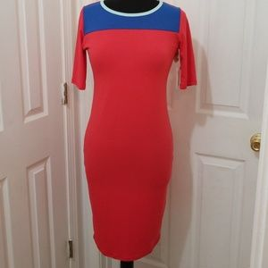 Coral and Blue Color Block Dress